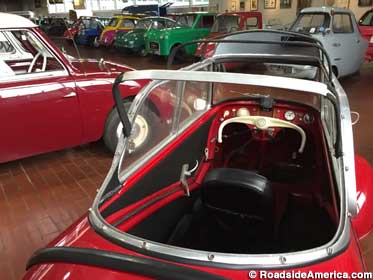 Some of the museum's microcars, seen from the cockpit of a 1957 Messerschmitt.