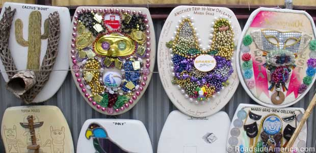 Mardis Gras remembered in toilet seat art.