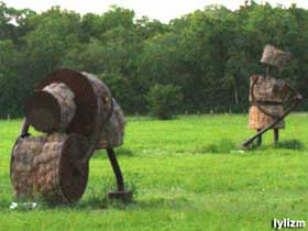 Metal and Hay Bale Statues