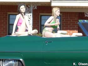 Caddy with mannequins.