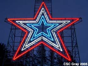 Red, white and blue star.