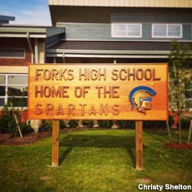 Forks High School sign.