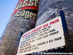 Sign for World's Largest Six Pack.