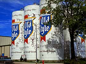 Old Style beer cans as the World's largest Six Pack.